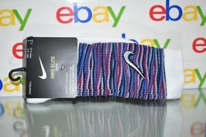 Nike Elite Dri Fit Basketball Crew Socks DH9825 100 Red/White/Blue Unisex NWT