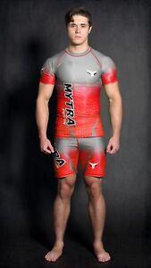 Mytra Fusion Compression Set Rash Guard & Tudo Shorts Gym Workout bodysuit