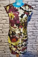TED BAKER BLACK STRETCHY FLORAL PENCIL MINI SHORT DRESS SIZE 1  8 uk