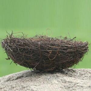 Brown Rattan Bird Nest Photo Props Garden Ornament Decoration Holiday Y3K8