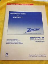 Zenith Sentry 2 Owners Manual Direct-view Color Tv Operating Guide & Warranty