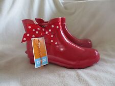 BNWT Girls Blue Zoo Red Bow Detail Ankle Wellington Boots Size 4 RRP £19