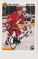 91/92 Upper Deck Gary Leeman Calgary Flames Autographed Hockey Card