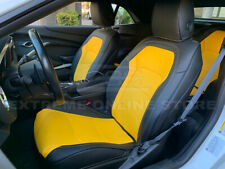 For 16-Up Chevrolet Camaro Coupe Yellow / Black Interior Leather Seat Covers