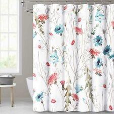 Blue Red White Watercolor Floral Farmhouse Elegant Boho Fabric Shower Curtain