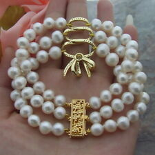 CZ  bowknot connector 8-9MM  3 Strds  White round freshwater Pearl 8'' Bracelet
