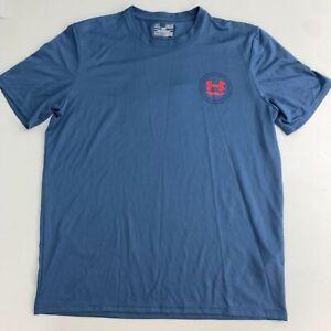 Under Armour Athletic Golf T-Shirt Mens Medium Blue Logo Crew Neck Short Sleeve