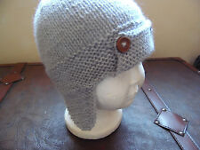 Hand knitted baby boys, light grey aviator hat 3-6 months