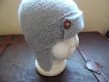Hand knitted baby boys grey aviator hat 0-3 months