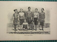 C1890 antique print ~ dayak women costumes borneo ~