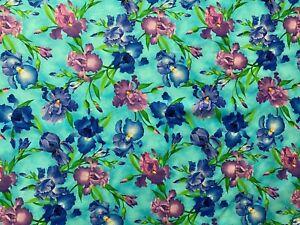 Iris Floral Flower Purples Greens Blue Digital Printing Cotton Fabric FQ