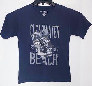 "Surf Style ""Clearwater Beach"" T shirt, Shark, Blue, Boys Size 10-12"