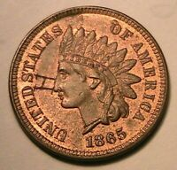 "1865 Indian Cent Choice R&B BU+ inscribed ""H"" Original Lustrous One Cent US Coin"