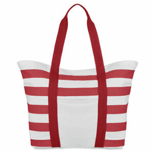 Nautical Striped Canvas Summer Beach bag . Full lining and inner zippered pocket