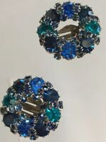 Vintage Signed Weiss Blue Teal AB Rhinestone Floral Clip On Earrings Silver Tone