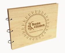 Darling Souvenir Personalized Engraved Laser Cut Wedding Guest Book-yN4