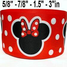 "Grosgrain Ribbon 5/8"", 7/8"",1.5"", 3"" Minnie Mouse Red Printed (Combine Shipping)"