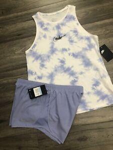 Women's Nike 2 PC Set Tie Dye Blue Tank Top Blue Athletic Shorts NWT Size S/M