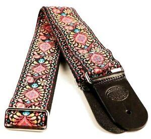 "Gaucho Jacquard Weave Flower Design Guitar Strap Black/Turquoise/Pink - 2"" Wide"