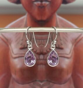 315f Amethyst Solid 925 Sterling Silver Faceted Pear Gemstone Earrings rrp$44.95