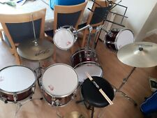 More details for drun kit percussion plus burgundy with new drum sticks and music stand
