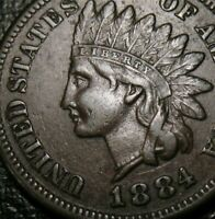 OLD US COINS 1884 INDIAN HEAD CENT PENNY FULL LIBERTY BEAUTY