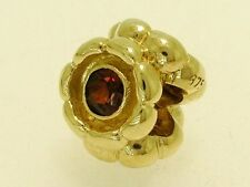 Bd031 Authentic Genuine 9ct SOLID Yellow Gold Natural Garnet Blossom Bead Heavy