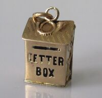 9ct Gold Charm - Vintage 9ct Yellow Gold Letter Box Opening Charm
