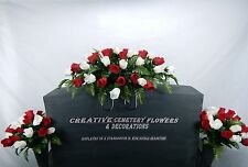 Deluxe Cemetery Memorial Flower Headstone/Tombstone Saddle+Matching Vase Bushes