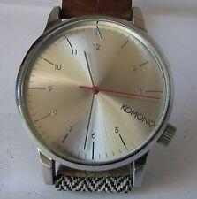 Kopmono Quartz Watch with Leather and fabric bracelet