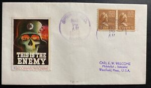 1944 Springfield MA USA Patriotic Label Cover This Is The Enemy