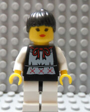 LEGO Castle Girl Female Classic Head Ribbon on Top ,White Legs, Black Hair