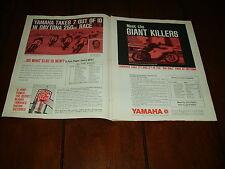 1968 YAMAHA GIANT KILLERS DAYTONA RACE ***ORIGINAL 2 PAGE AD***