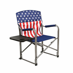 Kamp-Rite Tailgating Folding Directors Chair with Side Table, USA Flag(Open Box)