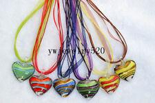 Wholesale Lot 6Pcs Heart Stripe Murano Glass Pendant Silver P Necklace FREE