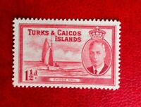 1950 KGV1 POSTAGE STAMP TURKS & CAICOS ISLANDS  1 1/2d mint  hinged
