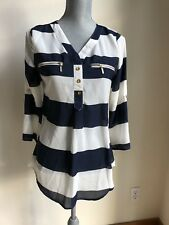 NEW Rue 21 Women's Striped Blouse Size S Fashion Shirt Top Blue White
