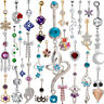 Womens Rhinestone Navel Rings Belly Button Bar Ring Dangle Body Piercing