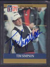 Tim Simpson 1990 PGA Tour Pro Set # 75 autographié signé jhpsg
