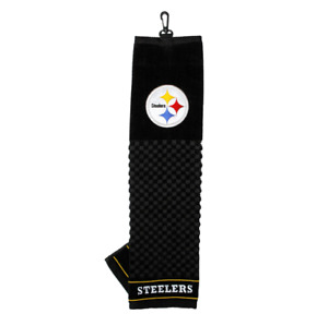 """NFL Pittsburgh Steelers Golf Towel Embroidered Tri-Fold 16"""" x 22"""" Hook Bag Clip"""
