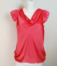 RIVER ISLAND Pink Satin Fall neck Ruffle Frill sleeve elasticated Top Blouse 10