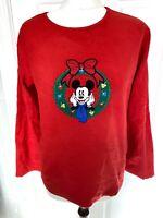 Vintage Disney Red Embroider Mickey Mouse Christmas Sweatshirt Jumper - Medium