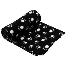 Black Paw Print Large Pet Blanket Cat Dog Puppy Polyester Warm &Cosy Fleece Soft