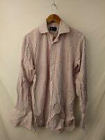 Mens Aquascutum Burgundy Red White Check Formal Shirt Size 15.5 15 1/2 #2D3