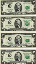 4- 1995 $2.00  FEDERAL RESERVE NOTES, CRISP, UNCIRCULATED, CONSECUTIVE NUMBERS
