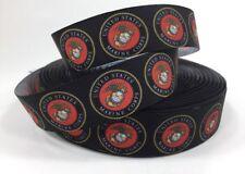 "By The Yard 1"" Marines Logo Grosgrain Ribbon Hair Bows Lisa"
