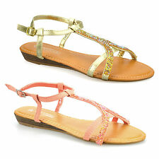 Womens Ladies New Low Flat Wedge Heel Slingback Buckle Summer Sandals Shoes Size