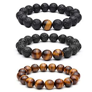 Fashion Men's Tiger Eye Natural Stone Beads Bracelet Buddha Charm Bracelets