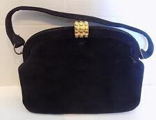 Vintage Black Calf Suede Purse Handbag Koret Koretalope Saks 5th Ave. Mirror