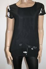 CAT Brand Women's Black Chiffon Embroidered Shift Top Size S BNWT #SE73
